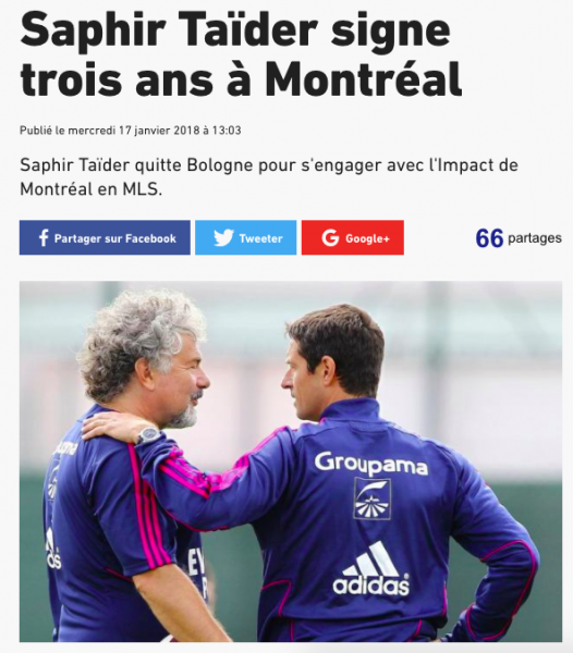 Saphir Taider signe à l'Impact Montréal — Mercato